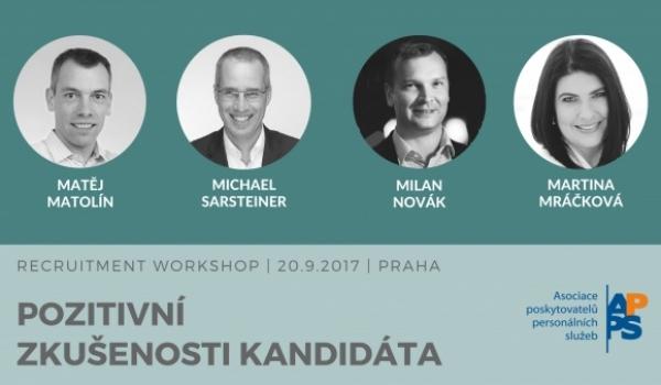 20.9.2017, Praha | Recruitment workshop: Pozitivní zkušenosti kandidáta